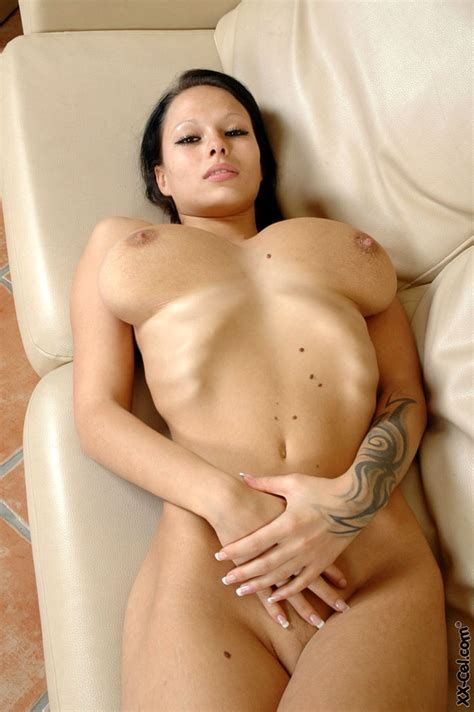 Skinny Big Breasted Dominno Gets Naked
