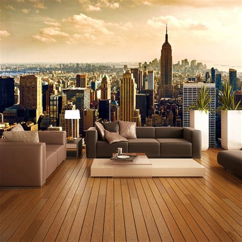Living Room Wallpaper City by Custom 3d Mural Wallpaper Roll City Views Living Room Sofa