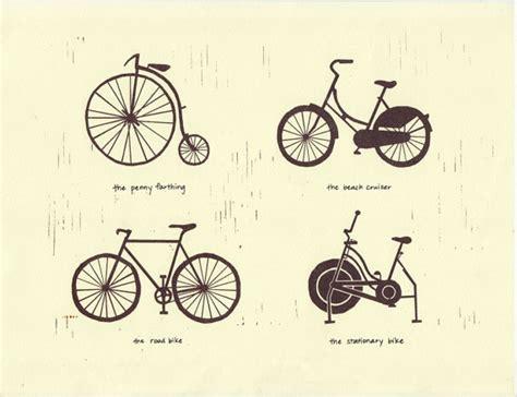 Bike Or Bicycle Types Art Illustration Print Road Bike