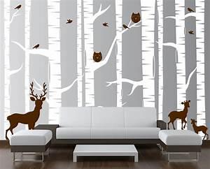 Birch tree forest set vinyl wall decal owls deer 1323 for White birch tree wall decal decorations
