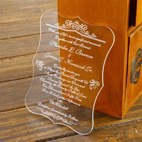 Personalised Damask Wedding Invite Acrylic Unique Wedding