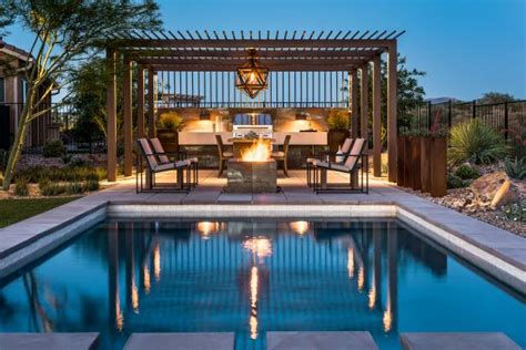 contemporary patio includes outdoor kitchen pool