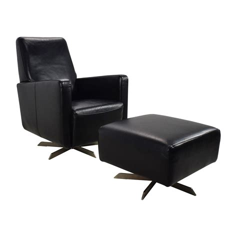 90 natuzzi natuzzi black leather swivel chair with