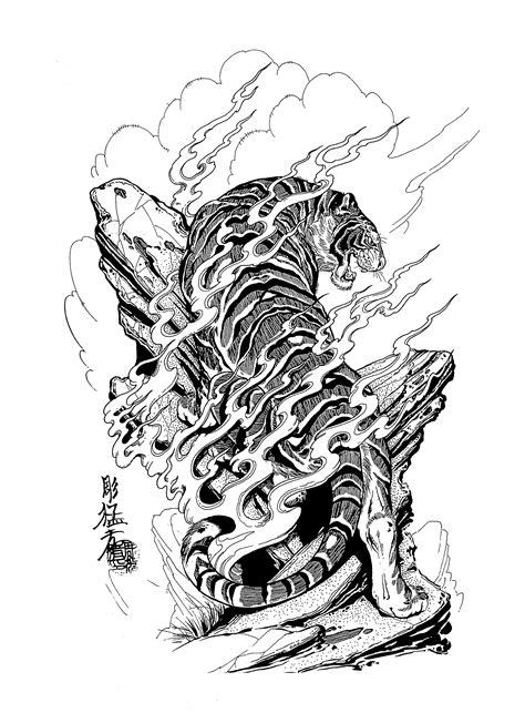 Jack Mosher - Tattoo Flash Set (100 татуировок) | Татуировка с тигром в японском стиле