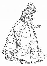 Princess Coloring Pages Belle sketch template