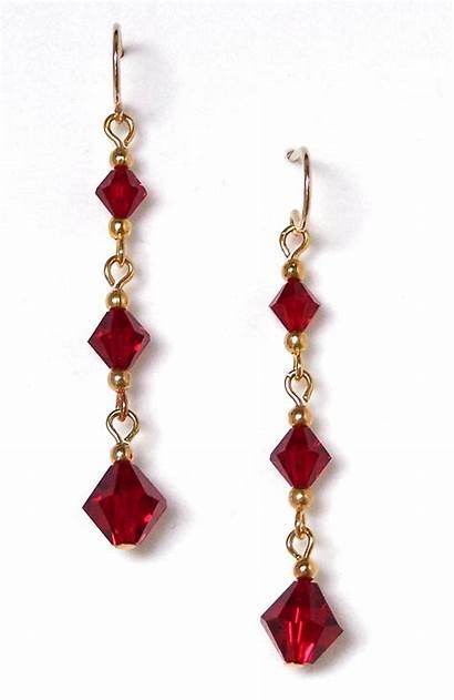 Earrings Crystal Chain Beaded Drop Siam Earringsgalore