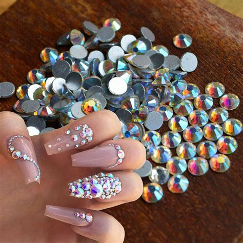 charm nail art tips flat  gems crystal glitter