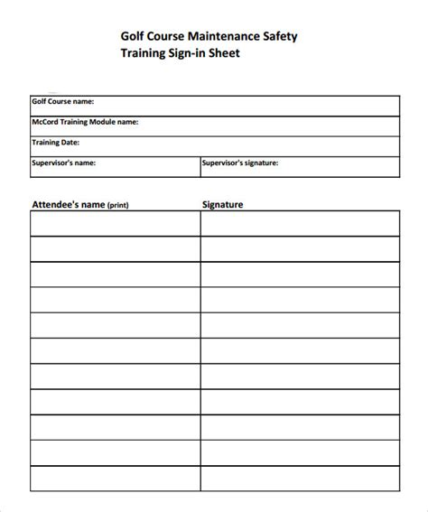 sample training sign  sheet template