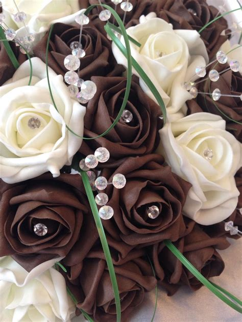 artificial wedding flowers chocolate brown ivory foam rose