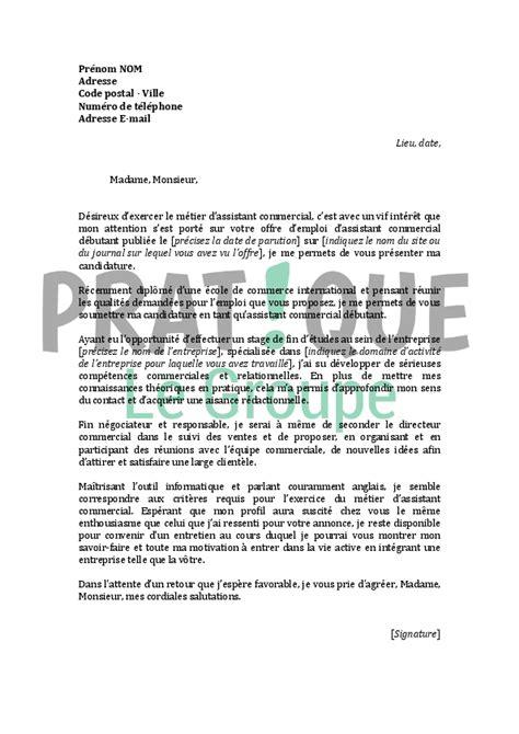 lettre de motivation pour un emploi d 39 assistant commercial