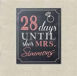 Wedding bridal shower days until she39s mrs sign wedding for Wedding shower signs