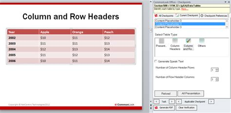 Column & Row Headers  Commonlook Office For Ppt 508