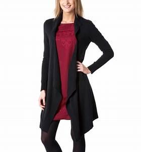 Gilet Long Noir Femme : gilet promod long gilet en tricot femme noir promod ~ Voncanada.com Idées de Décoration