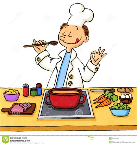 dessin cuisine of a cook in the kitchen stock image image 22282981