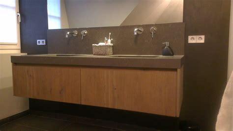 badkamermeubels rustiek massief eiken houten maatwerk badmeubel rustiek uitgevoerd