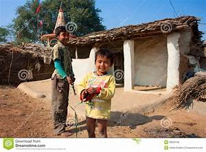 Children Play Near The Mud Village Houses Editorial Image ...