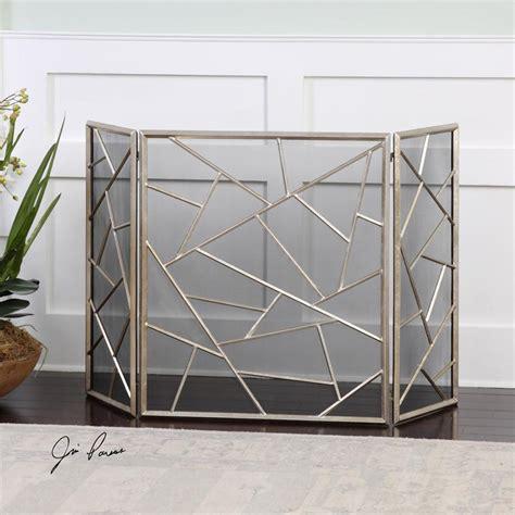 geometric pattern iron fireplace screen  antique silver leaf