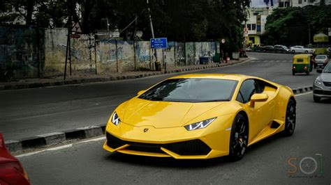 Yellow Lamborghini Huracan In Bangalore Youtube