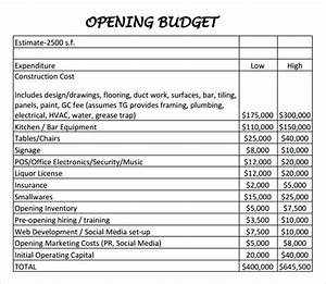 restaurant budget sample restaurant budget template With budget preparation template