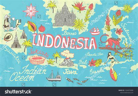 map illustration indonesia poster travel