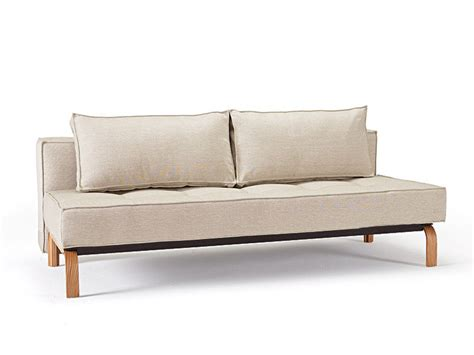 Stylish Loveseat by Stylish Fabric Upholstered Deluxe Sofa Bed With Oak Legs