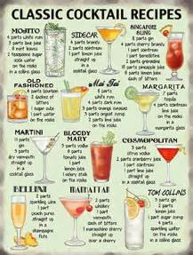 classic cocktail recipes metal wall sign 10647