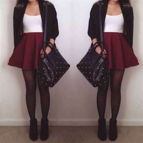 Burgundy skater skirt | Tumblr