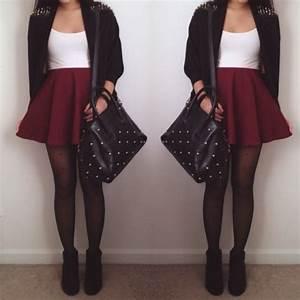 burgundy skater skirt | Tumblr