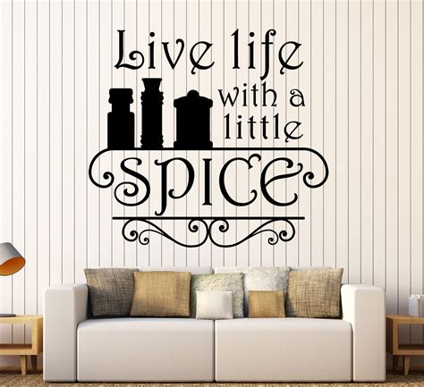 vinyl wall decal kitchen quote spice chef restaurant cook