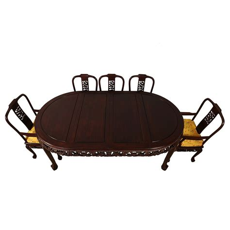 Glass has chipping in one corner, some light scratches on top. Vintage Chinese Carved Rosewood Dragon Dining Table with 8 ...
