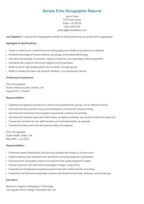 Echo Sonographer Resume by Resume Sles Sle Echo Sonographer Resume