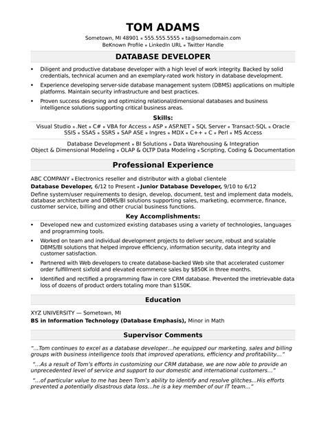 sle resume for a midlevel it developer