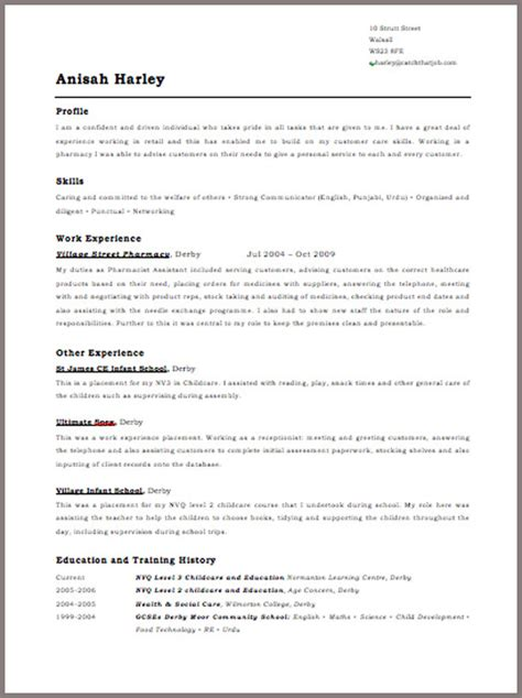 Cv Template Exles Free by Uk Resume Format Free Excel Templates