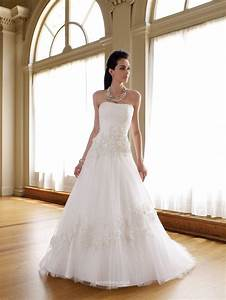 Strapless Tulle A Line Wedding Dress UK With Crystal Lace