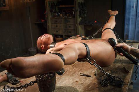 Submission Dark Pigtails Blacks Submissive Nikki Darling Struggles Against Restraints In Smothering Shoot