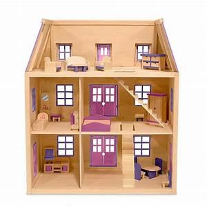Amazon com: Melissa & Doug Multi-Level Wooden Dollhouse