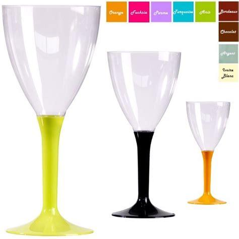 verre 224 vin plastique pas cher avec pied couleur x20 vaisselle discount