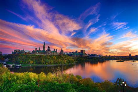 Sunset Over Parliament Hill In Canada Hd Wallpaper