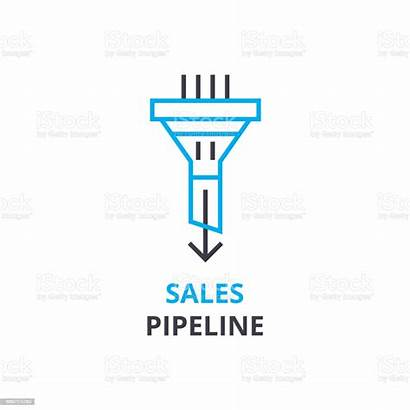 Pipeline Sales Icon Line Vector Pictogram Outline