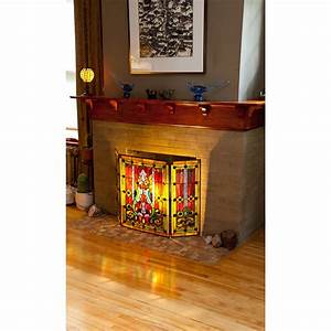 River, Of, Goods, Fleur, De, Lis, Tiffany, Style, Stained, Glass, Fireplace, Screen, U0026, Reviews