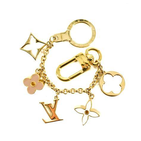 louis vuitton gold fleur de monogram bag charm chain tradesy