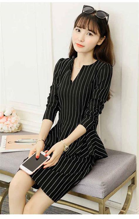 dress kerja wanita korea elegant  model terbaru