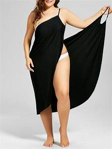 plus size beach cover up wrap dress in black 5xl With robe plage grande taille