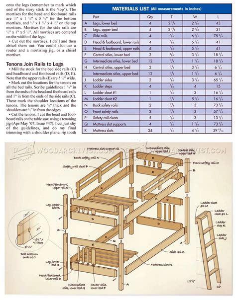 mission style bunk bed plans woodarchivist