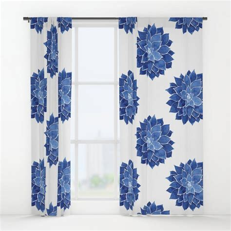 buy indigo succulent watercolor painting window curtains