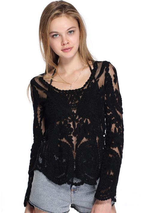 lace blouse romwe hollow out lace crochet black blouse