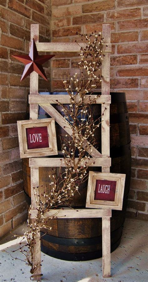 Rustic Ladder With Pip Berry Garland Primitive