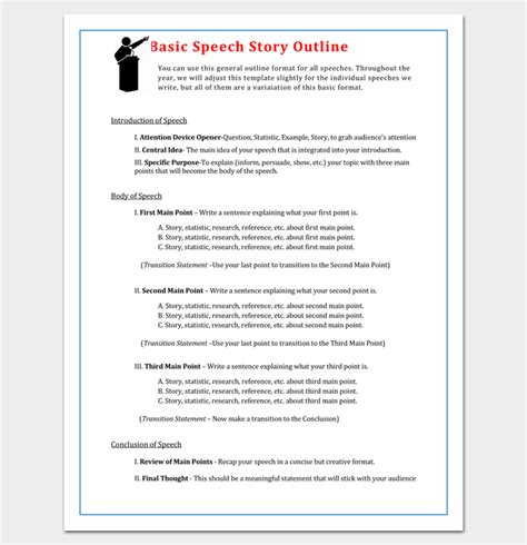 story outline template   word   format
