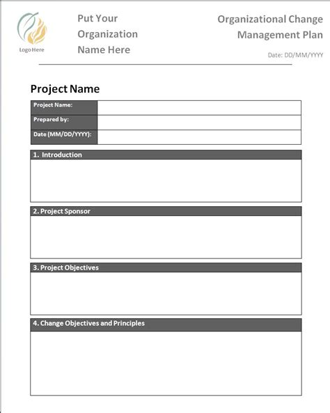 change management template plan templates free word s templates