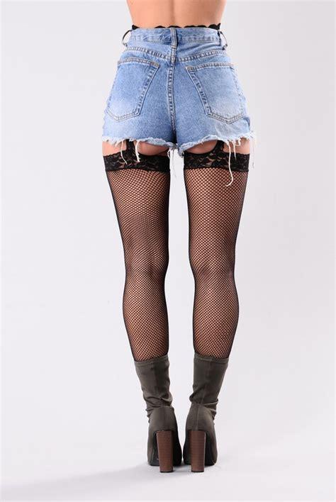 Leilani Fishnets Garter Belt Stockings Black